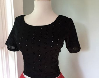 Vintage 1960s 1970s Rockabilly Black Cotton Eyelet Short Sleeve Cropped Blouse