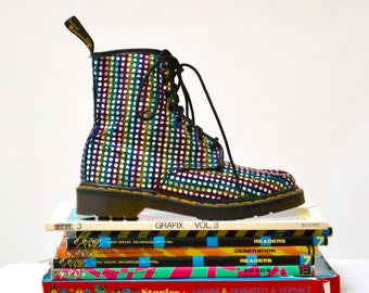 Amazing 90s Metallic Silver Rainbow Dr Martens Boots Size 8 81/2 // Vintage Doc Marten Metallic Silver Boots Size 6 uk Made in England