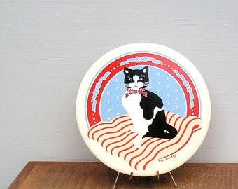 Vintage Tuxedo Cat Trivet Artist Rose Kennedy