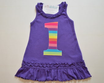 Girls 1st Birthday Dress Rainbow Applique Number Tank Top Dress First Birthday Purple Rainbow Party Ruffle Knit Dress Ready to Ship 18m