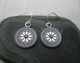 Simple Everyday Silver Flower Earrings - Boho Chic - Moroccan - Bohemian Silver Earrings