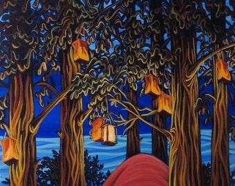Cedar Campsite, 5x7, art print, canadian artist, ready to frame