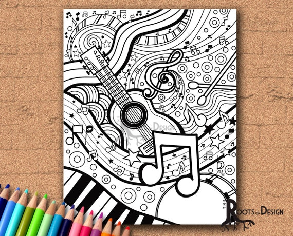INSTANT DOWNLOAD Coloring Page Music Art Print Zentangle Inspired
