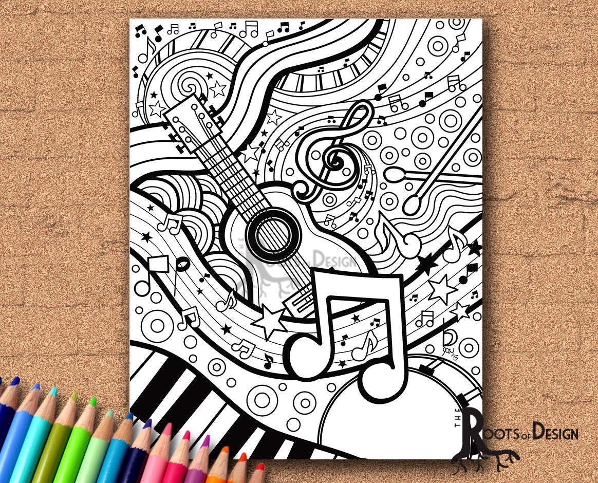 INSTANT DOWNLOAD Coloring Page Music Art Print zentangle