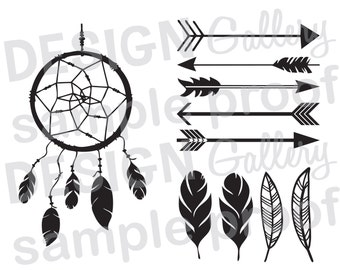 Arrows, Dream Catcher, Feathers - DIY Instant Download - SVG cut file, jpg, png - Printable Digital Iron On - Tribal Aztec