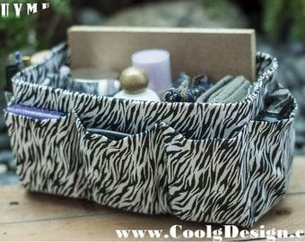 Purse organizer extra sturdy black white zebra extra large 30x12cm