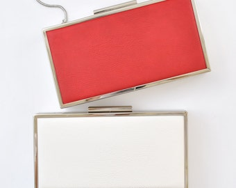 LEATHER box clutch - 8.5x4.5 inches - FREE SHIPPING - Red / White
