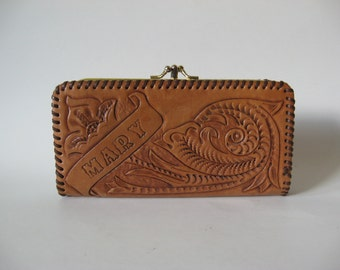 Tooled golden tan leather vintage wallet double kisslock Mexico pocketbook floral motif MARY