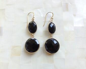 Large Step-Cut Faceted Black Onyx Vermeil Bezel Drop Dangle Earrings (E1267)