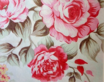 """Shabby Chic Roses white ground multi edible image wafer paper sheet 8"""" x 8"""" for your iced cake, cookies, cupcakes, baked goods"""