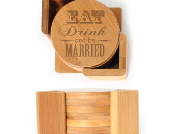 Wooden Round Coasters - Set of 6 with holder - 2471 Eat Drink & be Married
