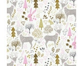 Woodland in White   cam2143702-1 - HELLO MY DEER - Camelot Cotton Fabrics - 1/2 yard