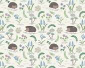 Hedgehog in White  A128.1 - BLUEBELL WOOD - Lewis and Irene Fabric - By the Yard