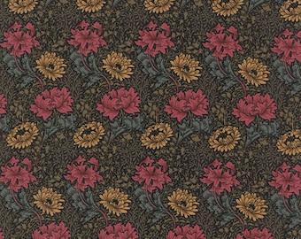 Chrysanthemum in Black   8330-15 - William Morris Earthly Paradise by Barbara Brackman for Moda Fabrics - By the Yard