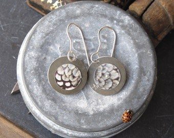 Tin Earrings-Grey Feathers-Light Weight Tin Discs-Sterling Ear Wires