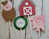 Farm Cupcake Toppers - farm themed party - 1st Birthday Decor