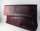 Womens Brown Leather Handbag, Fold over Clutch, Leather Envelop Clutch Bag, Vintage Stitched Folding Clutch Bag