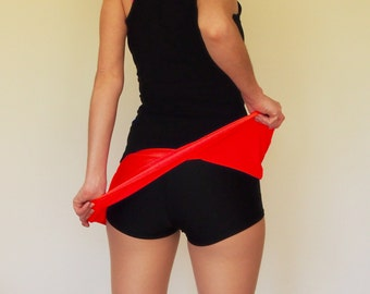 Red and Black A-Line Roller Derby Skort - in stock - CLEARANCE