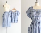 Vintage Two Piece Outfit . Cotton Skirt and Top 2 Piece Set . 1950s Dress Set . 50s Day Dress
