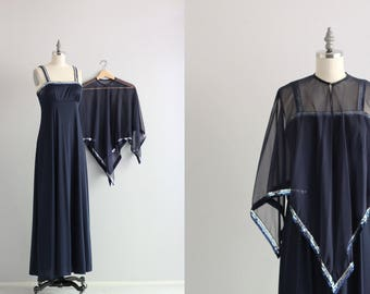 Two Piece Maxi Dress . Navy Blue Cape Dress . 1970s 70s Dress