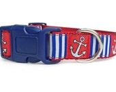 Nautical Dog Collar / Anchor Dog Collar / Red White Blue Dog Collar / Nylon Webbing Dog Collar / Sailor Dog Collar / Summer Dog Collar