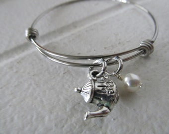 Tea Pot Charm Bracelet- Adjustable Bangle Bracelet with Tea Pot Charm, and accent bead in your choice of colors