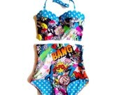 End of Season Sale Comic Pop Art Bam! Extra High Waist Underwire Bustier Bikini - Retro Swimsuit - XS-XXL - Plus Size Swimwear - Blue Polka