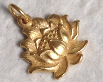 NEW Vermeil Gold Lotus Blossom Charm  - Full Open Bloom  C107-V