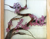 RESERVED for DIANNE Stained Glass Window Panel Japanese Cherry Blossom Tree Interior Decorating Design Tranquility Asian Decor 3-D