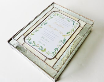 Stained Glass Keepsake Box Wedding Invitation Bride Groom Photograph Engagement 50th Anniversary Custom Made-to-Order