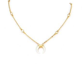 Mother of pearl crescent & cz chain necklace