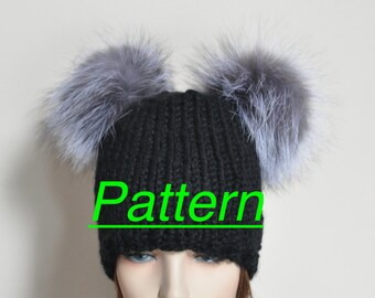 Pompom Beanie Fur Hat PDF PATTERN DIY Hand Knit Winter Adult Teen Black Chunky Hat Pattern