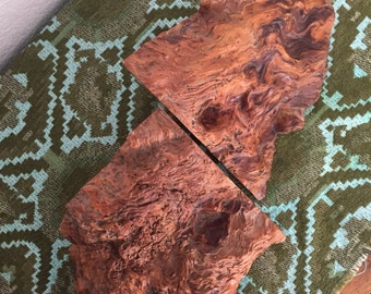 large vintage solid burl wood bookends / wooden chunk