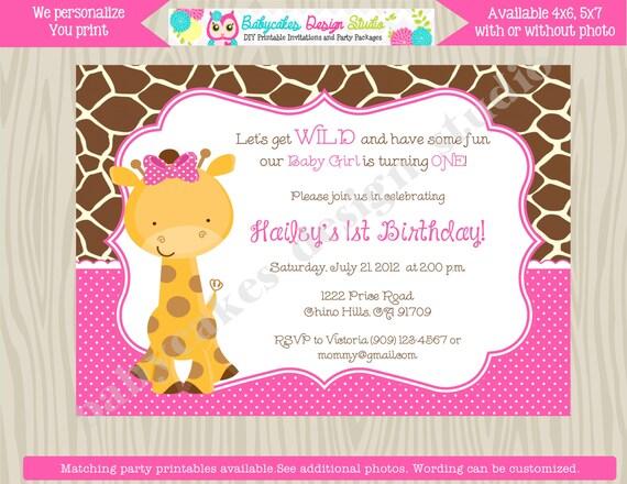 1st birthday Invitation giraffe girl pink Wild One Birthday Invitation Giraffe Invitation Girl Pink printable invite DIY