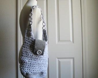 Gray & White Shoulder Hobo Bag
