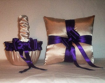 Champagne Satin With Regency Purple Trim Flower Girl Basket And Ring Bearer Pillow