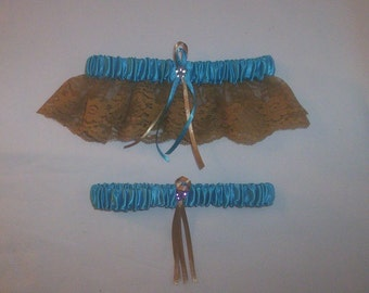 Turquoise Satin / Gold Lace - 2 Piece Wedding Garter Set - 1 To Keep / 1 To Throw