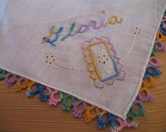 1950's Handkerchief, Monogrammed GLORIA Hanky