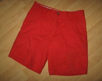 Izod Preppy Red Shorts - Vintage 1990's Bright Collegiate Cotton Bermuda Men 33W