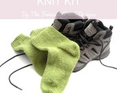 Easy knit walking socks kit . Learn to knit socks on DPN's , Full instructions with photos,  socks in 3 sizes and choice of colours