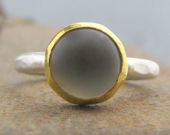 Matte Prehnite Ring - 24 Karat Gold & Silver Ring - Prehnite and Solid Gold Ring - Stacking Gemstone Ring