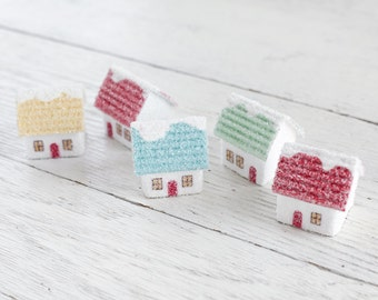 Miniature Houses - 5 Vintage Style Cardboard Putz Houses