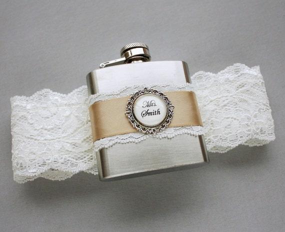 Wedding GARTER FLASK, Bridal Garter in Ivory & Champagne, Custom Flask Garter, Personalized Bridal Shower, Bachelorette or Bridesmaids Gift