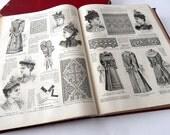 Bound Volume Antique French Fashion Publications 'Le Moniteur de la Mode ' 1891 and 1892