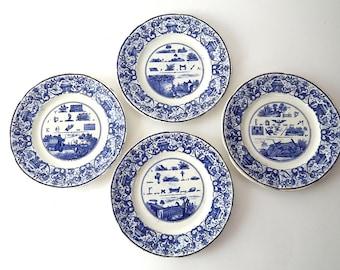 4 French Antique Rebus Plates Set of 4 Dessert Plates 1800s