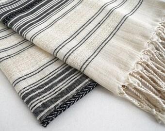 SALE 50 OFF/ BathStyle / Black-Natural / Turkish Beach Bath Towel / Wedding Gift, Spa, Swim, Pool Towels and Pareo