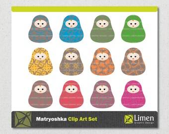 Russian Doll Clip Art, Matryoshka Clip Art, Nesting Doll Clipart, Matryoshka Clipart, Babushka Clip Art, Matryoshka Doll, Paper Doll