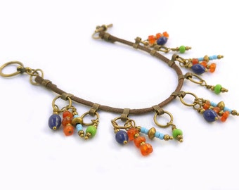 Colorful Boho Beaded Bracelet Orange, Cobalt Blue, Lime Green, Turquoise With Antique Gold/ Brass Accents, Carnelian & Glass - One of a Kind