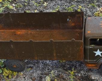 Vintage Toy Army Truck, Rustic, Military-U.S. Army Marx Lumar Transport truck,Rustic Nursery Decor, Man cave, • Pressed steel Lumar truck