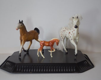 Trio of Vintage Plastic Horses - Set of Three (3) - Instant Collection - Hartland Plastics; Kid Kore
